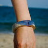 Chunky blue resin bangle on arm 03