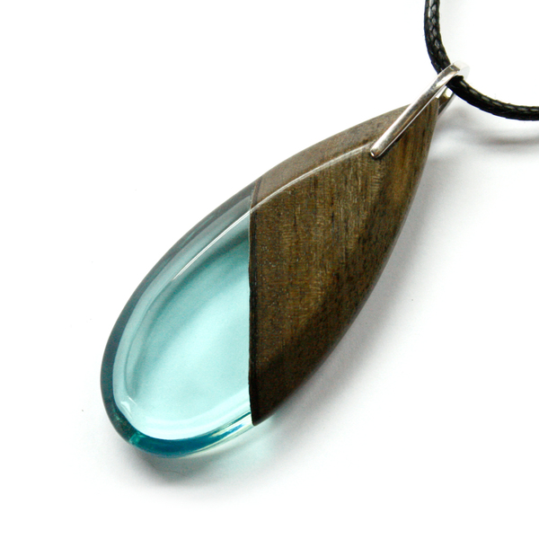 Long tear drop greywood pendant in light blue