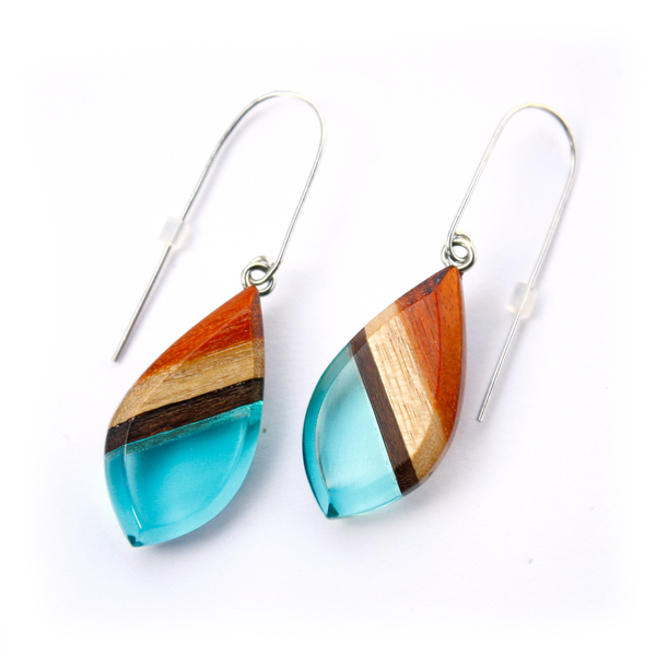 Redwood dangle earrings in aqua blue
