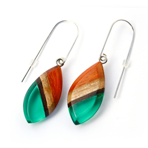 Redwood dangle earrings in emerald green