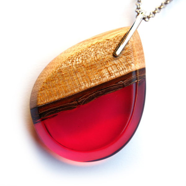 Tear drop mahogany pendant in crimson pink