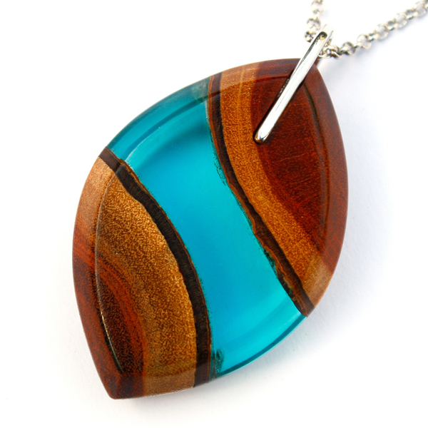 Eye redwood pendant in aqua blue