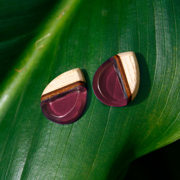Tear drop mahogany ear studs in crimson pink