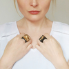 Anakie and oban gold statement rings on model comparison