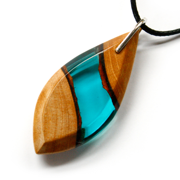 Long leaf mahogany pendant in aqua blue
