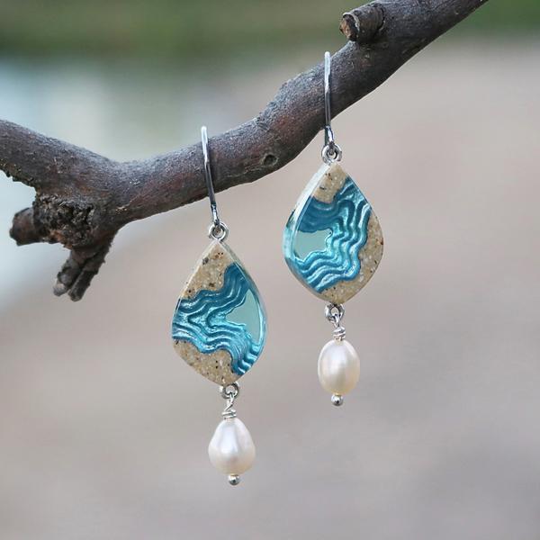 Bay small beach sand and pearl dangle earrings