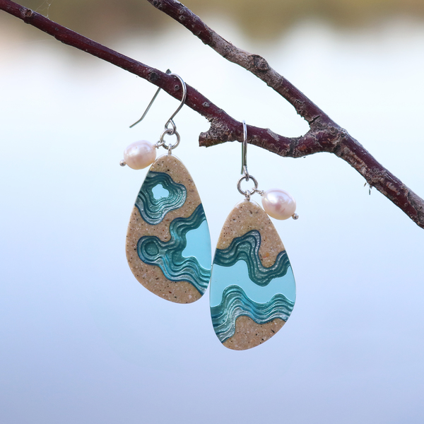 Rockpool large beach sand and blue resin earrings with pearl