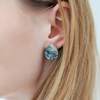 Ridge small beach sand and light blue resin earrings